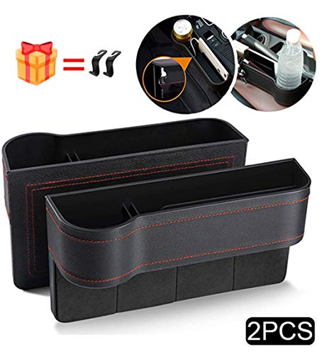 Car Seat Organizer Front Seat Gap Filler PU Leather Car Console Side Organizer Seat Pockets Catch Caddy Car Seat Storage Box,for Cellphone,Wallet, Cup Holder, Various Cards(2 Pack)