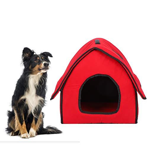 Bicaquu Casa para Dormir para Mascotas Casa para Perros, Cama Plegable para Perros de Color Rojo Lavable con Alfombrilla Suave, Desmontable para Perros, Gatos(Red)