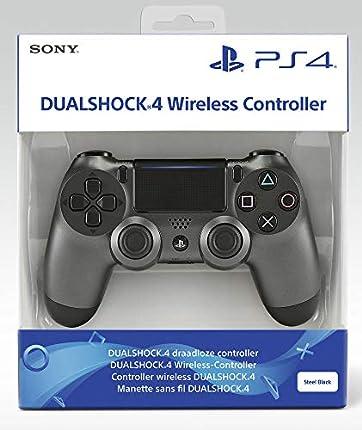 Sony DualShock 4 v2 Gamepad PlayStation 4 Negro, Acero inoxidable - Volante/mando (Gamepad, PlayStation 4, Analógico/Digital, D-pad, Hogar, Share, Inalámbrico y alámbrico, Bluetooth/USB)