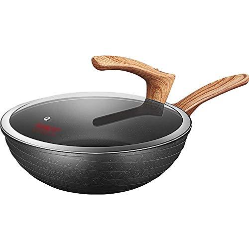 XYSQWZ Wok Antiadherente De Piedra De Maifan Estufa De Gas para Cocinar Menos Humo Olla De Cocina Casera De Fondo Plano De 30 Cm