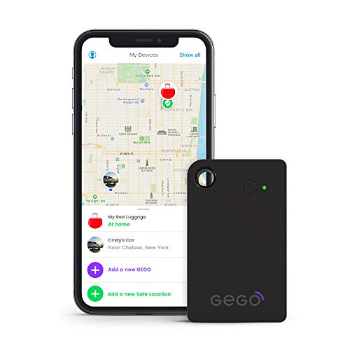 Gego Global Tracker - Worldwide Real Time Luggage Tracking Device - Travel Baggage GSM Locator (Better Than GPS locator) Global with Mobile App (Airline Compliant) No Roaming Charges Black