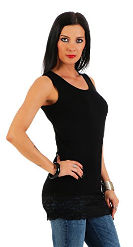 Mellice Damen Longshirt Long Top mit Spitze - FX040, Gr.- 40-42 EU/ L-XL, Schwarz
