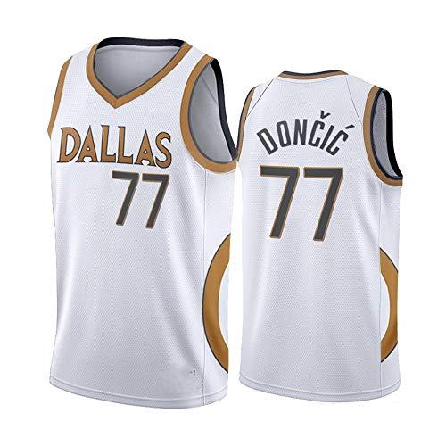 Uniformes De Baloncesto para Hombres, Dallas Mavericks # 77 Luka Doncic Bordado De La NBA Baloncesto Camisetas De Baloncesto Deportes Al Aire Libre Camisetas Sin Mangas,Blanco,S(165~170CM)