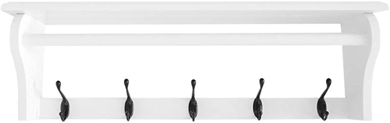 QFFL Coat Rack Hook, Wall Shelf with Hooks for Entryway Hallway Bedroom Bathroom Living Room-3 colors 3 Size Optional Wall Hanger (color   White, Size   5 Hooks)