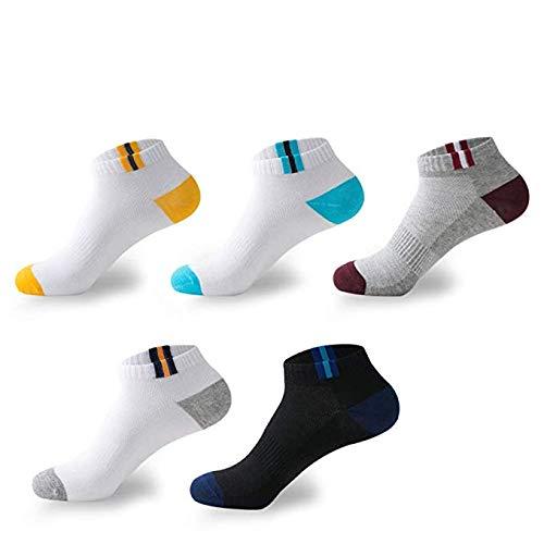 BUDERMMY - 5 o 10 pares de calcetines deportivos unisex con talón y puntera reforzados, calcetines deportivos cortos de algodón para hombre y mujer