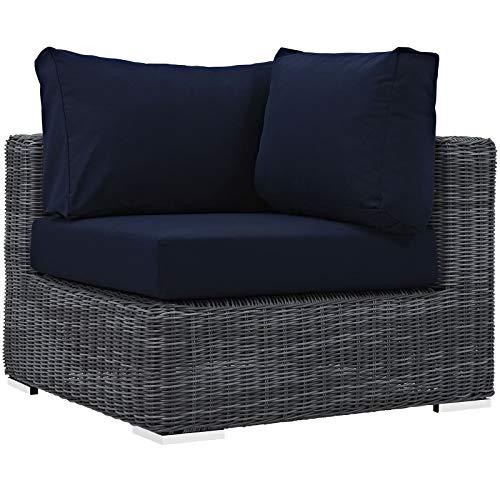 Kücheks EEI-1868-GRY-NAV Summon Sombrilla de mimbre para patio al aire libre, sin brazos, lona azul marino, Lona Azul Marino, Corner Sofa