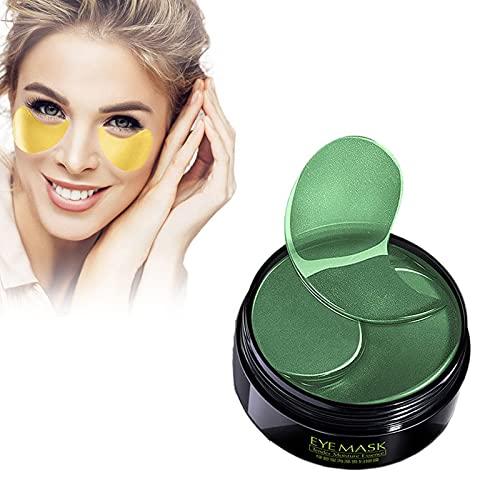 HGFG 30 paar collageenpatches, oogmaskers met 24 karaats goud, zeewier oogmasker, onder ooggel pads voor donkere kringen en wallen, anti-rimpel vochtinbrengend (groen)