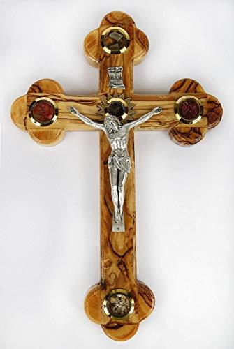 Kruzifix/Wandkreuz aus Olivenholz, verziert mit Olivenblättern, Weihrauch, Blumen und Steinen aus Jerusalem, handgefertigt von Kunsthandwerkern in Bethlehem (Das Herz des Heiligen Landes)