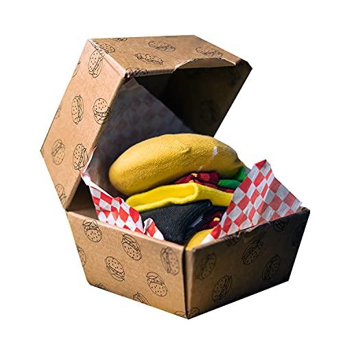 soxo chaussettes Colorées fantaisie Hamburger | 35-45 EU | chaussettes humoristiques en coton hautes | idée cadeau emballé | motifs nourriture