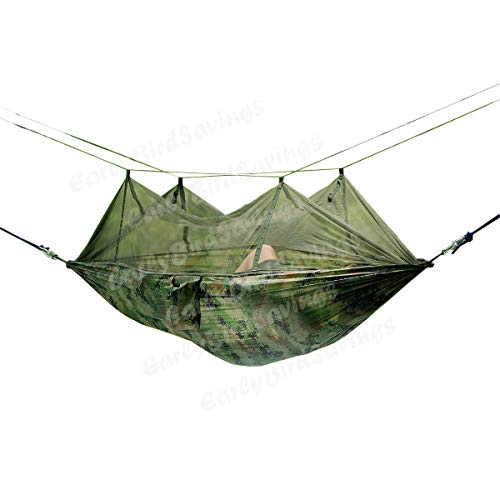 Earlybird Savings, amaca/letto sospeso, da campeggio e da viaggio, portatile, ad alta resistenza, in tela di nylon per paracadute, Digital Camo Parachute
