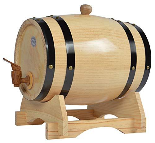 Barril de Madera, Barril Individual de Roble para Whisky O Vino, Barril con Grifo, Tapón y Soporte de Madera, Decoración Romántica para Uso Doméstico Mesa de Comedor,Wood (black),25L