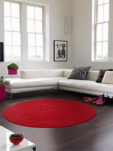 Benuta Teppiche: Moderner Designer Wollteppich Uni Rot ø 160 cm rund - schadstofffrei - 100% Wolle...
