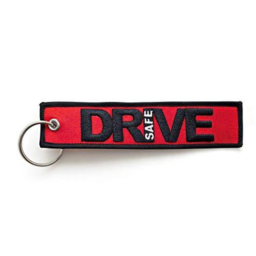 RENEGADE Motorrad Schlüsselanhänger aus Stoff mit Schlüsselring Bestickt & Kratzfest (130 x 30 mm, rot, schwarz). Ideal für Ihr Motorrad (Drive Safe)