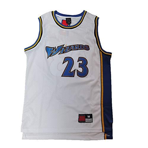 FGSD Jordania #23 Wizards - Camiseta de baloncesto para hombre, diseño retro, para uso diario y juegos de baloncesto, color blanco