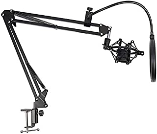 TenYua NB-35 Microphone Scissor Arm Stand and Table Mounting Clamp&NW Filter Windscreen Shield & Metal Mount Kit