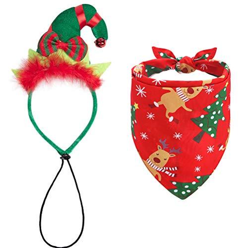 Reversible Dog Christmas Bandanna - Cute Christmas Headband - Festival Xmas Dog Triangle Scarf Bibs Outfits, Santa Pet Costume Headwear Accessories Set for Dogs & Cats