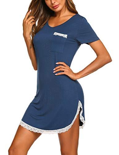 MAXMODA Damen Nachthemd Sexy Schlafshirt Kurzarm Sleepshirt Nachtkleid Kurz Sommer, Navy, M