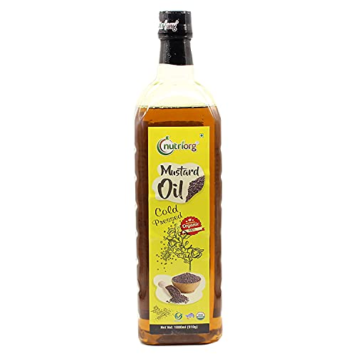 Nutriorg Cold Pressed 100% Organic Mustard Oil 1 L   Natural Filtration for Nutrients Retention   Essential Cooking Purpose  ...