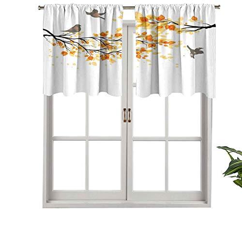 Hiiiman Cenefa opaca con bolsillo de barra de alta calidad con hojas de otoño pálidas, pájaros cambio natural, juego de 2, paneles opacos decorativos para el hogar de 137 x 61 cm para dormitorio