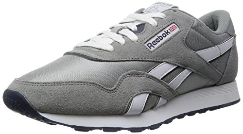 Reebok Herren Classic Nylon Sneaker, Silber (Platinum/Jet Blue), 36