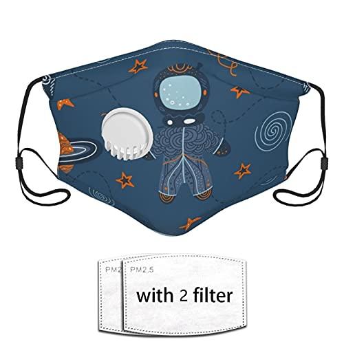 Nicegift Space Travel Hand Drawn Pattern Filtro Protector para Adultos Mascarilla Respirador con válvula respiratoria