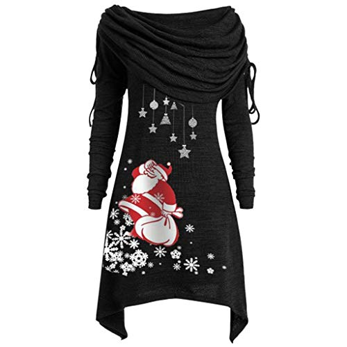URSING Weihnachtspullover Damen Pullover Longpullover Foldover Kragen Tunika Weihnachtsmann Weihnachtskleid Damen Loose Asymmetrisch Sweatshirt Xmas Weihnachten Oversize Oberteile Langarmshirt