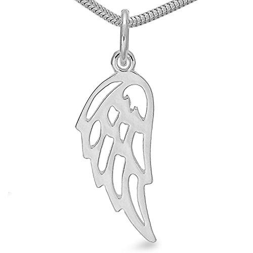 Silber Engelsflügel Engel Flügel Sterlingsilber Schutzengel Flügel Feder Herren Damen Kettenanhänger#1355