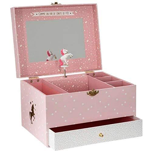 HOGAR Y MAS Joyero Musical Infantil Unicornio, Color Rosa y Blanco, Once Upon A Time, Diseño Infantil con Estilo Fantasía 21,5x16,5x14cm