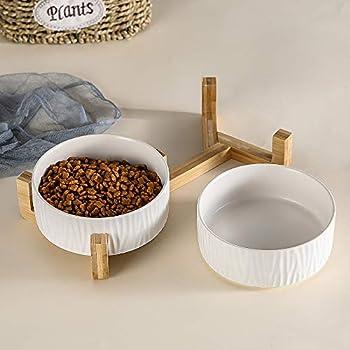 HCHLQLZ Blanc Pet Gamelles pour Chien et Chat Gamelles Chien Chat Céramique Support Bambou -Va au Lave-Vaisselle et Facile à Nettoyer (2 Bol)