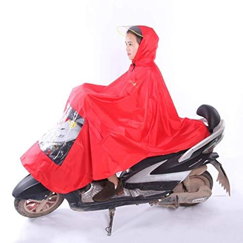 ZXL Regenjas Mannen Vrouwen Fietsen Fiets Regen Cape Poncho Hooded Winddichte Regenjas Mobiliteit Scooter Cover Outdoor Camping Tent Mat met Transparante Cap Regenkleding (Kleur : Rood)