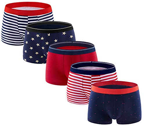 ADOLPH Men's Boxer Briefs 5 Pack No Ride-up Breathable Comfortable Cotton Sport Underwear-Mixed A-L