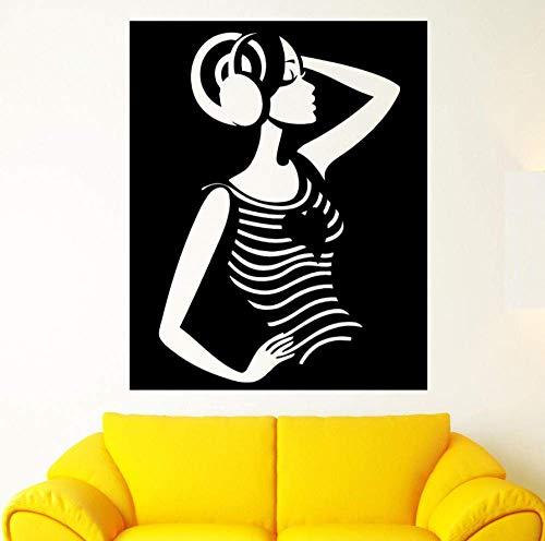 Mooie stickers Mooi meisje hart muziek stereo koptelefoon vinyl muursticker wooncultuur woonkamer 56x70cm