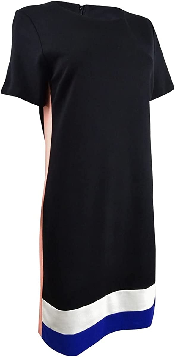 DKNY Womens Colorblock Knee-Length T-Shirt Dress