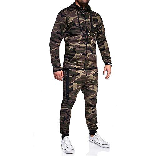 Bumplebee Herren Jogginganzug Camouflage Sportanzug Trainingsanzug Baumwolle Jogging Gym Fitness Sport Army Training Anzug Männer Jogginghose Fitnessanzug mit Kapuze