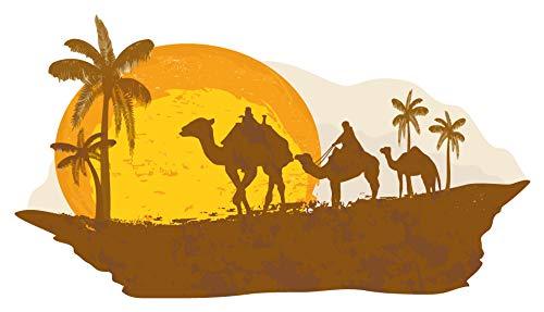 dekodino® Wandtattoo Afrika Skyline Kamele und Palmen Ägypten Wandsticker Deko