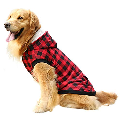 ASENKU Dog Winter Hoodie Fleece Thicken Dog Coat British Plaid Pet Jacket Warm Outfit with Removable Hat Windproof Vest for Small Medium Large Dogs, Red, Small