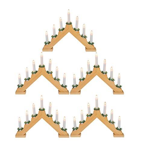 Idena 8582068 - Adventsleuchter aus naturfarbenem Holz mit 7 Kerzenlichtern, inklusive Ersatzlampe, Anschlusskabel mit Schalter, ca. 40 x 30 cm [Energieklasse A++] (5)