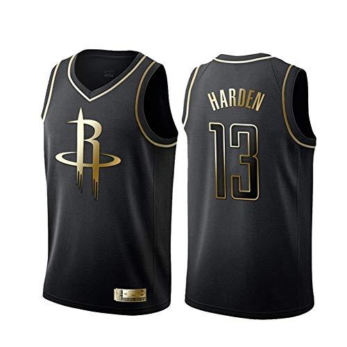 POAE Maglia da Basket Houston Rockets # 13 James Harden Mesh Swingman Uniform, Dri-Fit da Uomo Canotta Sportiva Senza Maniche-Black Gold-S
