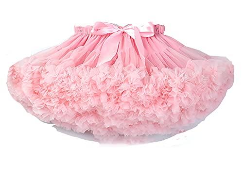 ZRFNFMA Mädchen Baby Tutu Frauen Flauschig Weich Chiffon Ballett Kind Tüllrock Kinder Tanzröcke Rosa-S