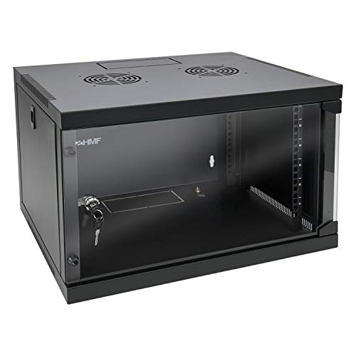 HMF 65406-02 Netzwerkschrank/Serverschrank 19 Zoll   6 HE   450 mm Tiefe   Voll Montiert   Glastür   Schwarz