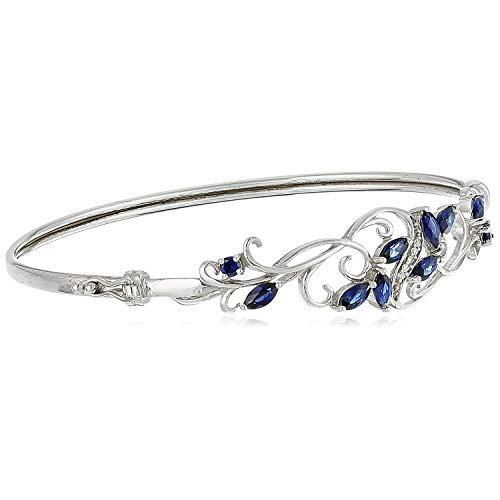 .925 Sterling Silver, Created Blue Sapphire and Cubic Zirconia Filigree Hinged Bangle Bracelet, 7.25'