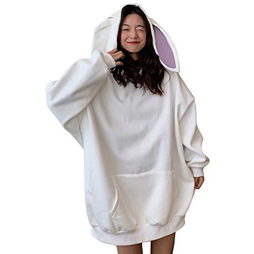 Sansund Sudadera con capucha de conejo con orejas, estilo primavera y otoño, manga larga, para mujer
