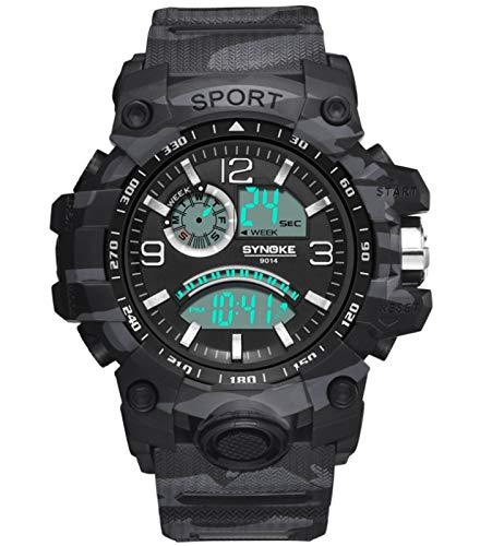 MLHXHX Reloj de Deportes electrónicos Deportivos para Hombres Reloj Deportivo de Pantalones Grandes al Aire Libre Multifuncional Black
