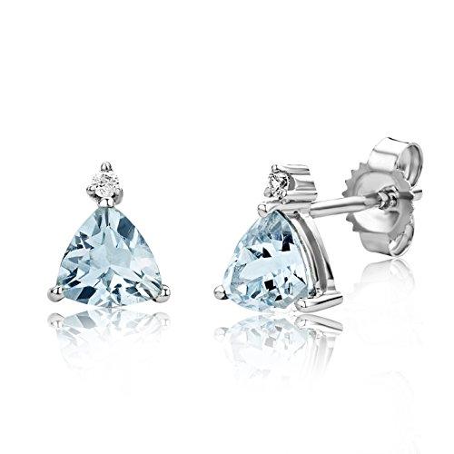 Miore Ohrringe Damen Weißgold 9 Karat / 375 Gold Ohrstecker Aquamarin mit Diamant Brillianten