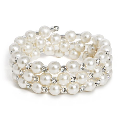 Katie's Style Silvertone Bridal 3-Row Wraparound Coil Simulated Pearl Crystal Elastic Stretch Fashion Wrap Bracelet