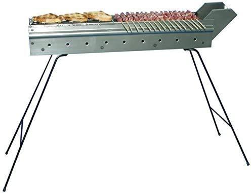 mistermoby Edelstahl Grill für Grillen Spieße Fleisch auf einem Stick Kebab Fleisch Brot Fisch Länge 80cm Das Original