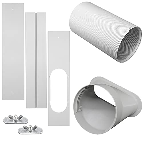GOZFLVT Universal Portable AC Window Vent Kit with Exhaust Hose 13cm/5.1 Inch, Adjustable Length Portable AC Window Vent Kit Sliding Window Vent Air Conditioner Kit Accessories
