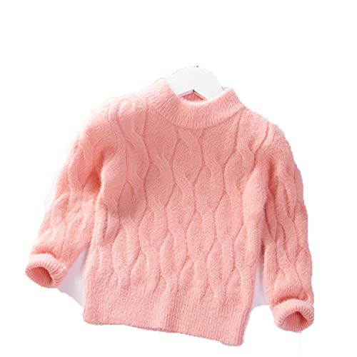 Girls Sweater Baby Princess Pullover Thick Warm Kids Clothes Crystal Velvet Solid Sweater Winter Children Clothing Pink 3T