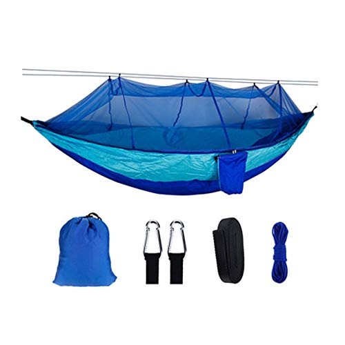 HULDORO 260x140cm Threefold Outside Travel Camping Hanging Hammock Bed W/Mosquito Net Kit travel hammock (Color : Blue)