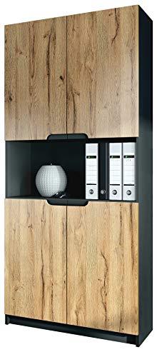 Vladon Büroschrank Aktenschrank Büromöbel Logan V2, Korpus in Schwarz matt/Fronten in Eiche Natur